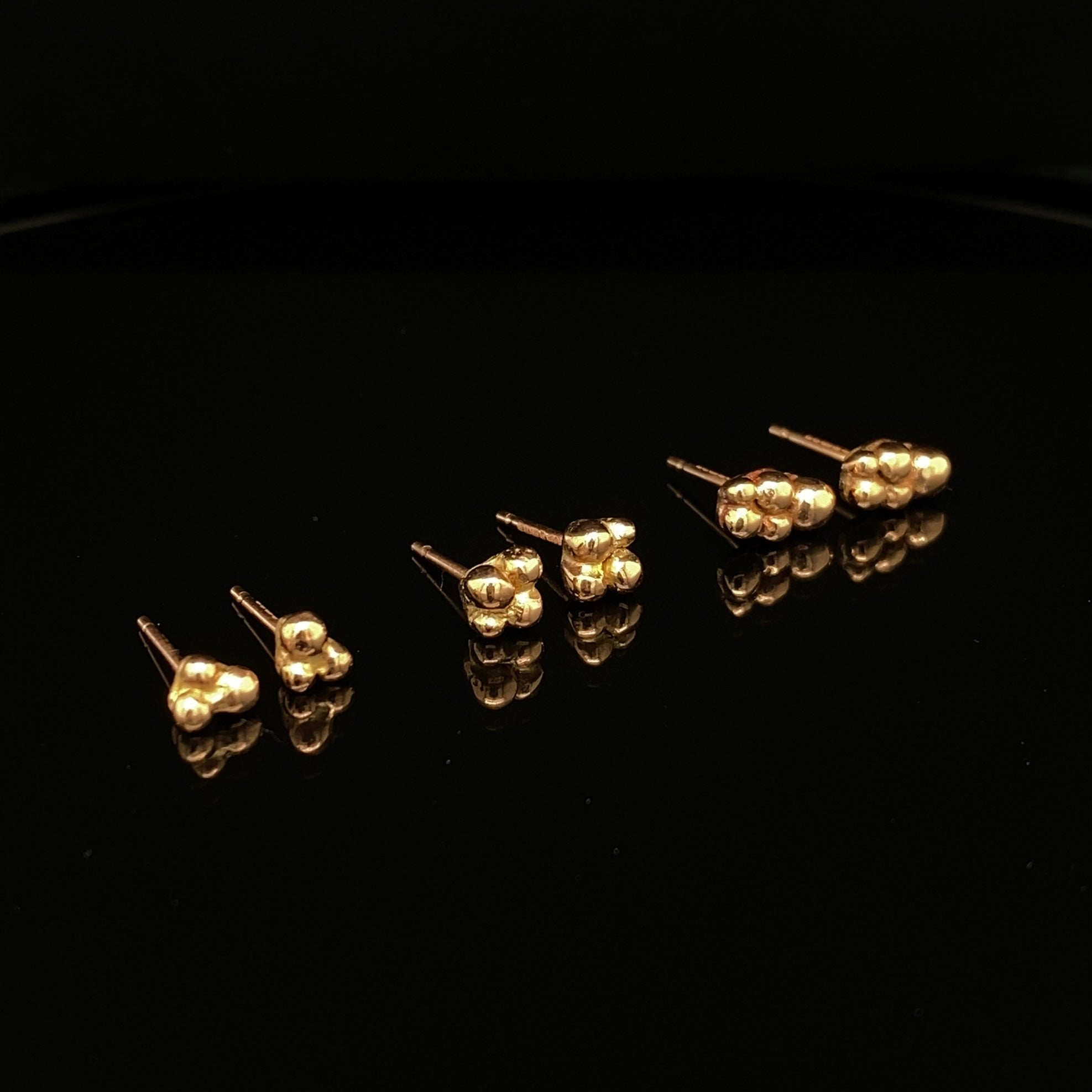 9ct Rose Gold Bubble Studs
