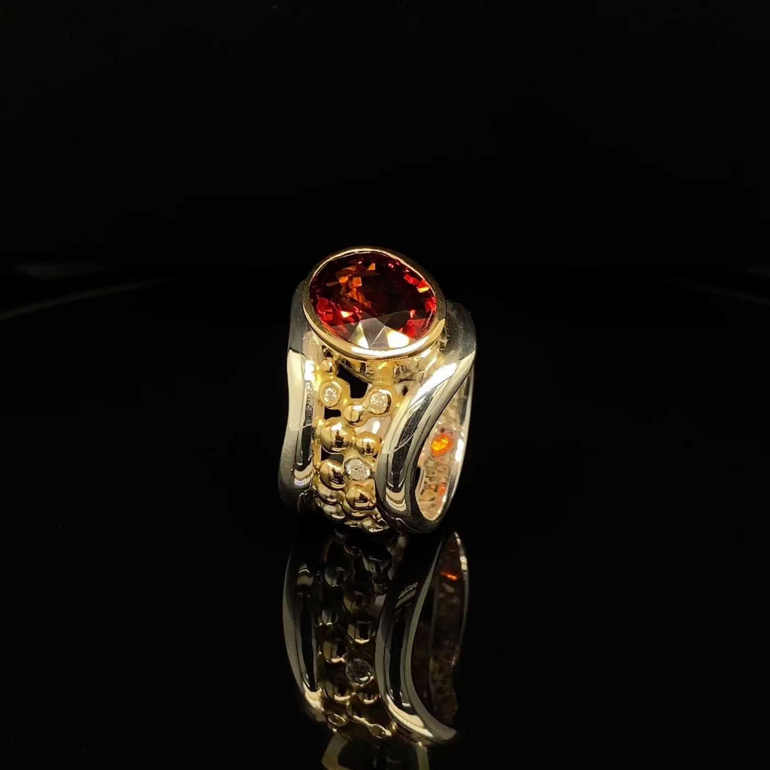 Spessartite Garnet Bubble Wave Ring