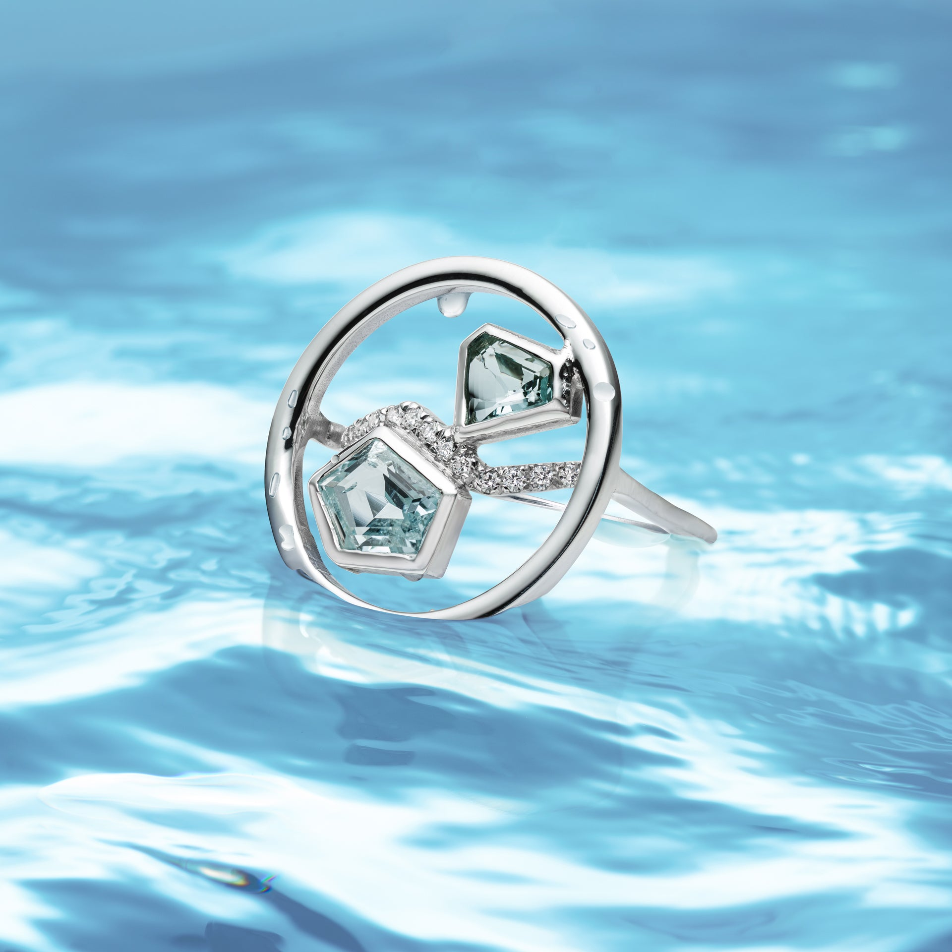 Aquamarine Reflection Ring