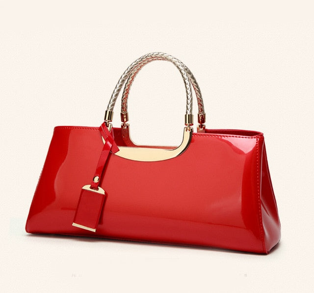 ''Faye'' - Glossy PU Leather Handbag