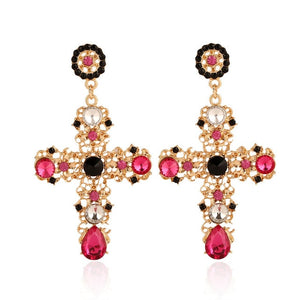 ''Faith'' - Crystal Cross Drop Earrings