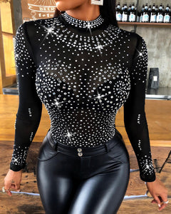 Shiny Rhinestone Long-Sleeve Mesh Bodysuit