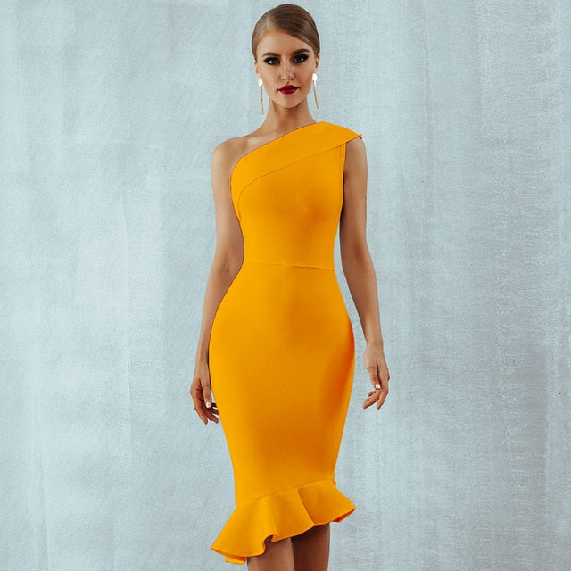 Ruffle One-Shoulder Bodycon Midi Dress