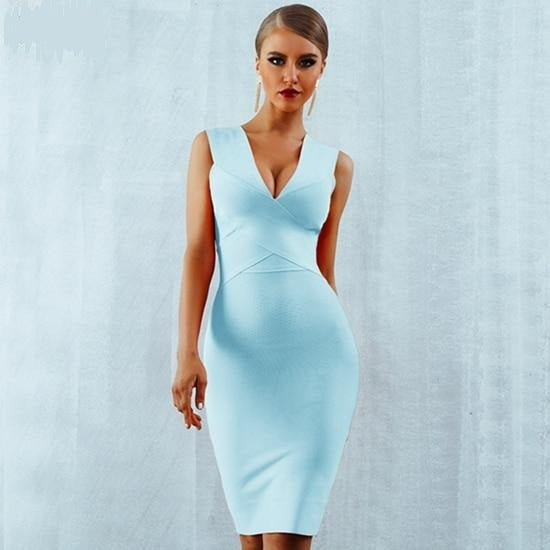 Deep V-Neck Sleeveless Bodycon Dress