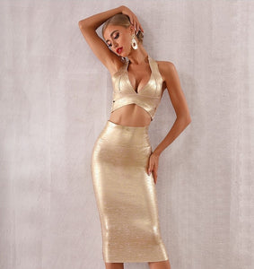 Crossover Crop Top and Skirt Set