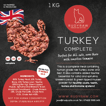 RudyRaw Turkey Complete - 80/10/10 - 1KG