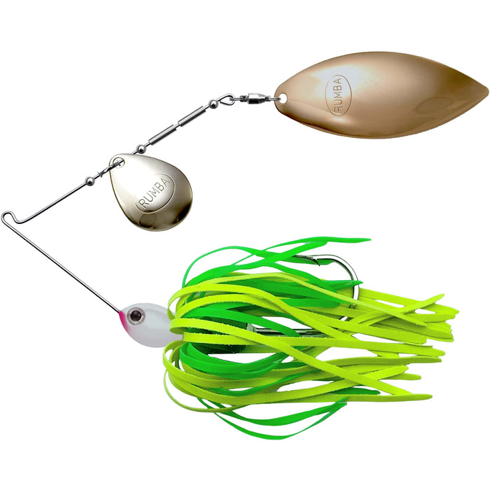The Original Spinnerbait Fishing Lures-Chartreuse/Lime Rubber Skirt, Nickel/Gold Tandem Blades