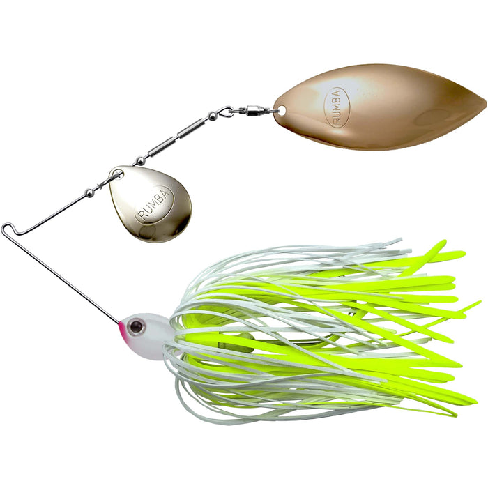 The Original Spinnerbait Fishing Lures-White/Chartreuse Silicone Skirt, Nickel/Gold Tandem Blades