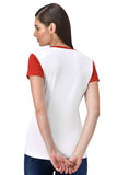 FflirtyGo Weekend Printed White T-shirt With Red Sleeves