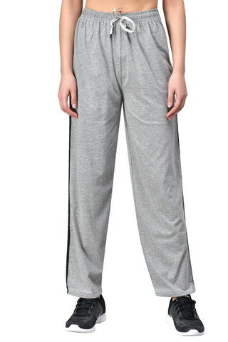 Women's Grey Track Pants with Black Stripe & Pockets