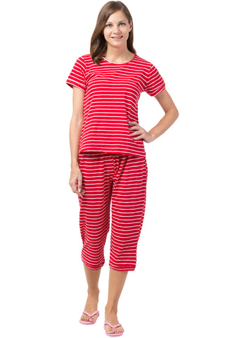 White Striped Red Capri Set
