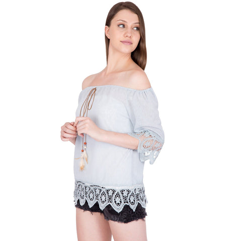 Womens Western Top with Crochet Border