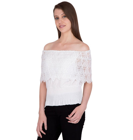 Womens Partywear Tops with Double Frill Crochet