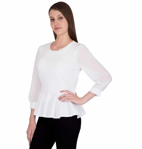 Women Party Wear Top with Frilled Bottom