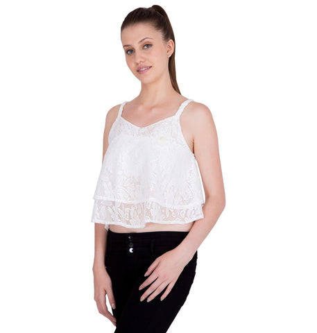 Womens Crop Top with Floral Broach & Double Step Flair