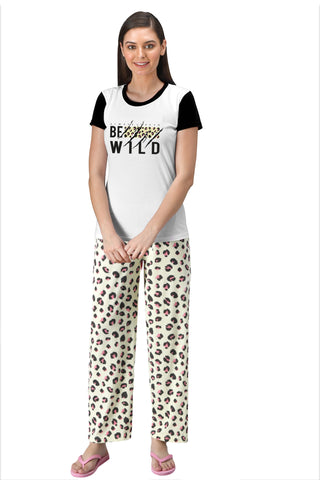 FflirtyGo Be Wild Printed Top and Pyjama Set