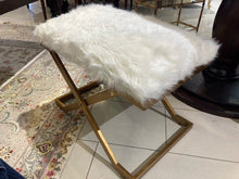 Load image into Gallery viewer, Fur Topped Bench Ottoman