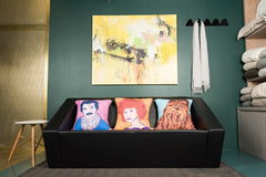 Tom Selleck, Barbra Streisand and Chewbacca on cushion each by PopHeavy for The Scallywag Society
