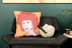 Permanent Babs cushion featuring Barbra Streisand by PopHeavy for The Scallywag Society