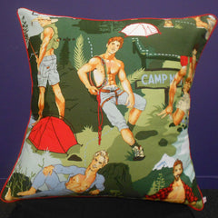 Campers Green Square Cushion