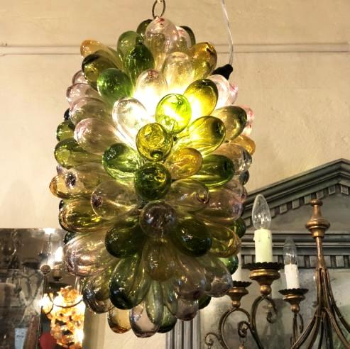 Syrian Glass Cluster Lamp - Green Pink Gold