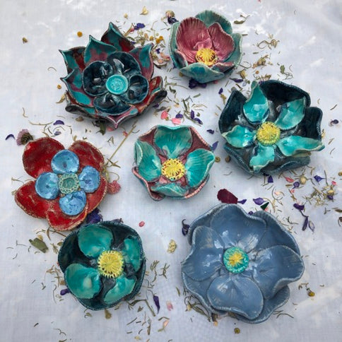 Wallflowers by French ceramic artist Fabienne Auzolle