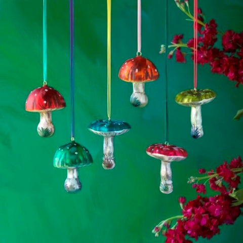 Nathalie Lete Glass Christmas ornaments - Mushrooms