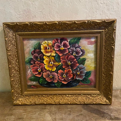Vintage floral oil painting - Pansies