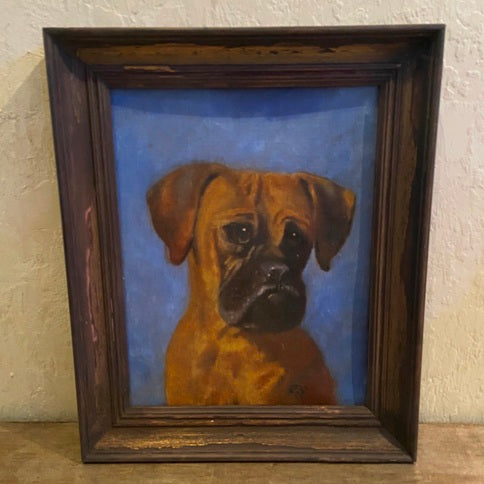 Vintage portrait oil painting - Boxer dog
