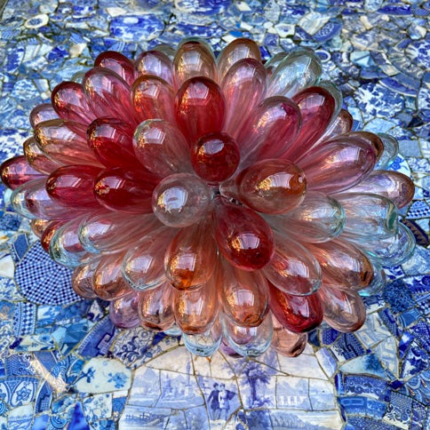 Syrian Glass Cluster Lamp - Rose Salmon Rouge Transparent