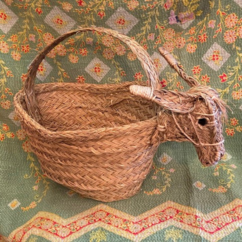 Spanish Artisan Donkey Head Basket