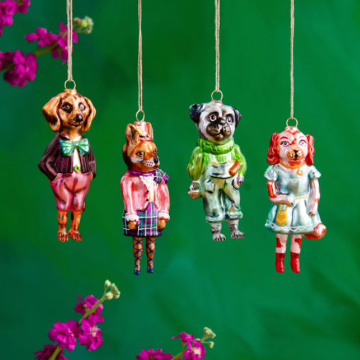Nathalie Lete Glass Christmas ornaments - Dogs
