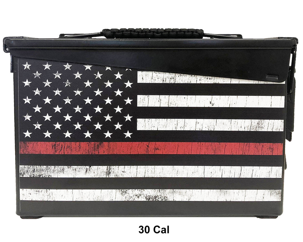Thin Red Line Distressed Custom Ammo Can