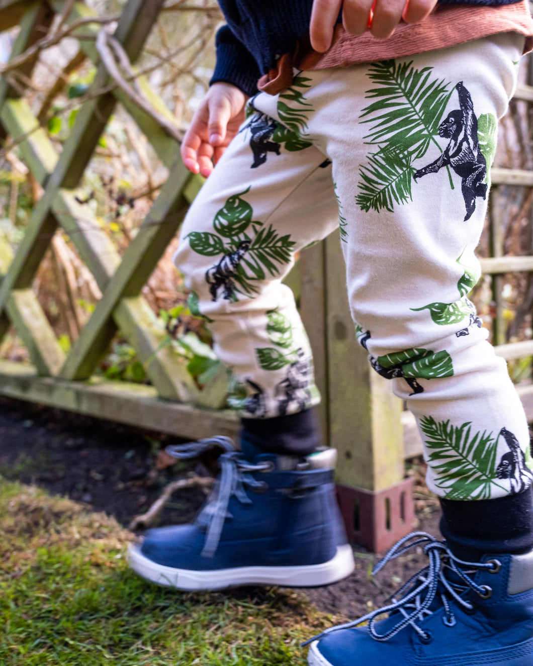 Gorilla themed Childrens Leggings from Doctor Mother Other. Made from 100% cotton and all handmade in the UK.