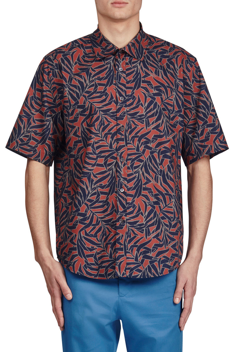 Tropical Allover Print Short Sleeve Button-Up Shirt