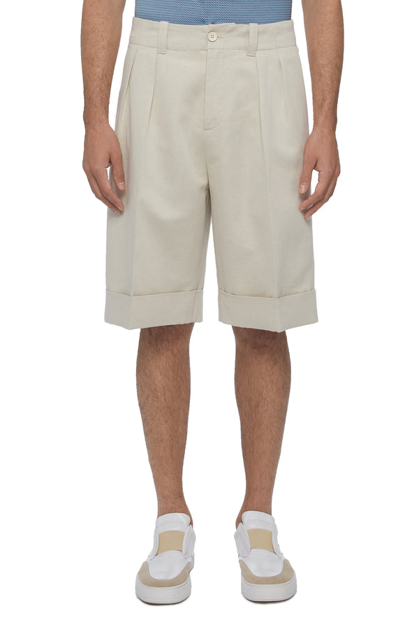 Cotton Linen Blend Bermuda Shorts