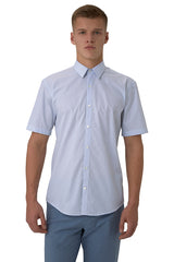 Balanced Striped Short-Sleeve Button-Up