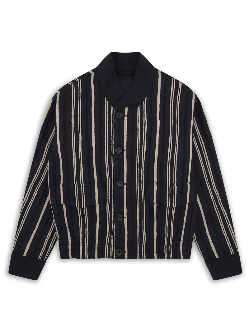 Twill Striped Button-Up Blouson