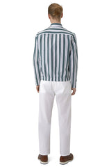 Linen Blend Block Striped Button-Up