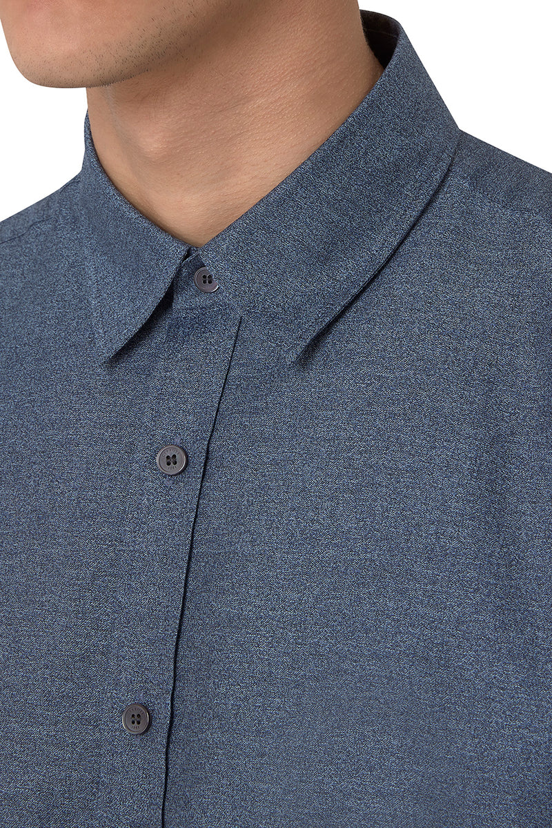 Cotton Melange Short-Sleeve Button-Up