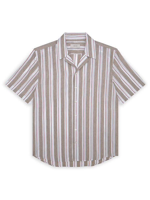 Linen Blend Repp Striped Button-Up