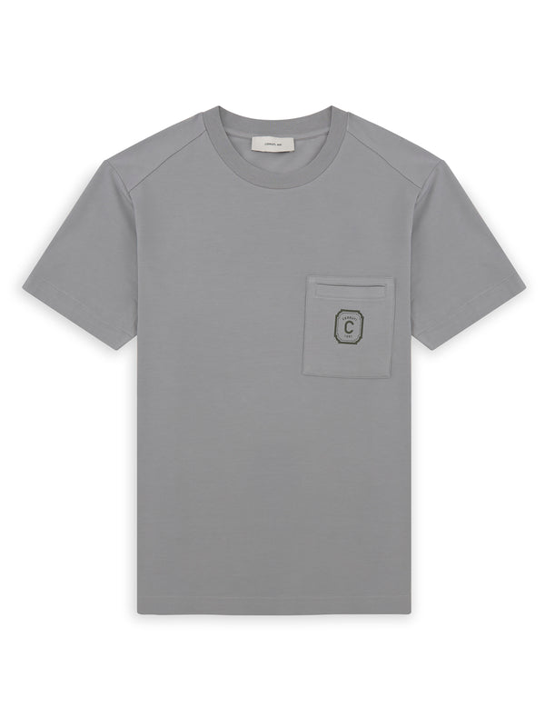 Basic Print Logo Chest Pocket T-Shirt