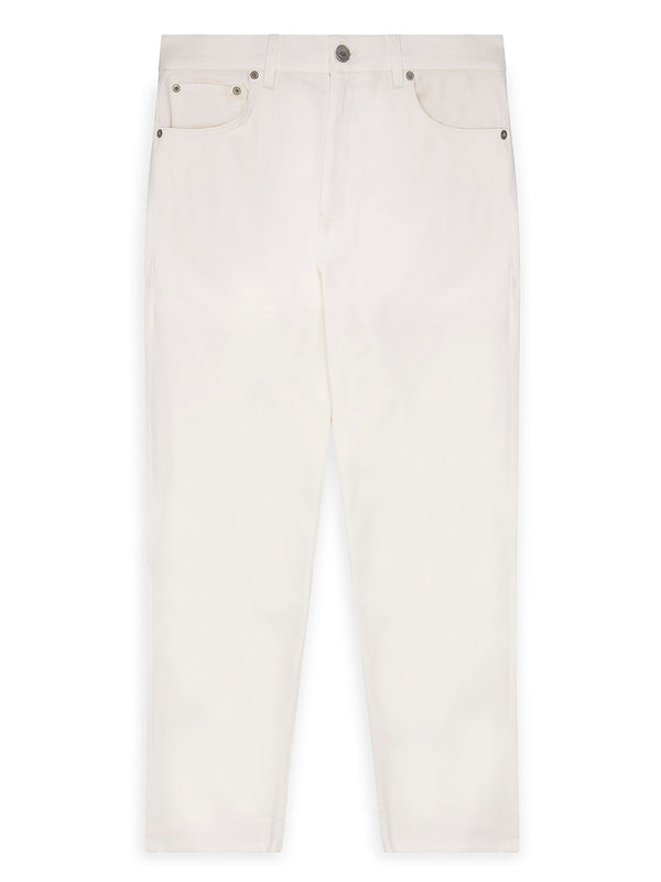 Faux Leather Patch Tapered White Jeans