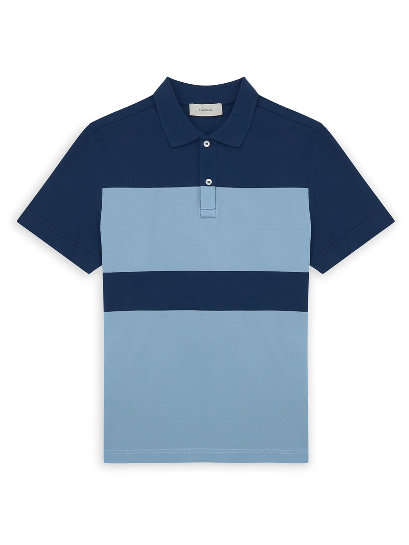 Colour Block Mercerized Cotton Striped Polo