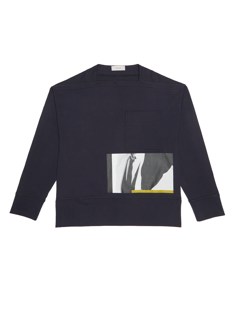 Square Collar Abstract Print Longsleeve
