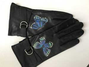 Women's Leather Gloves - Blue Butterflies