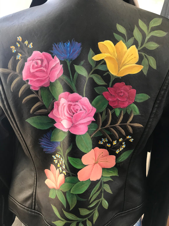 Black Leather Floral