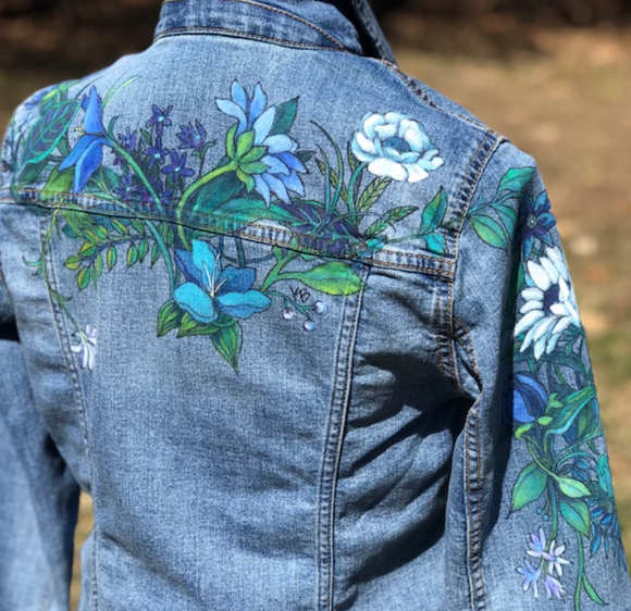 Floral Denim Jacket - Blue