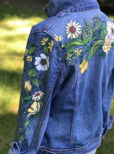 Floral Denim Jacket - Yellow