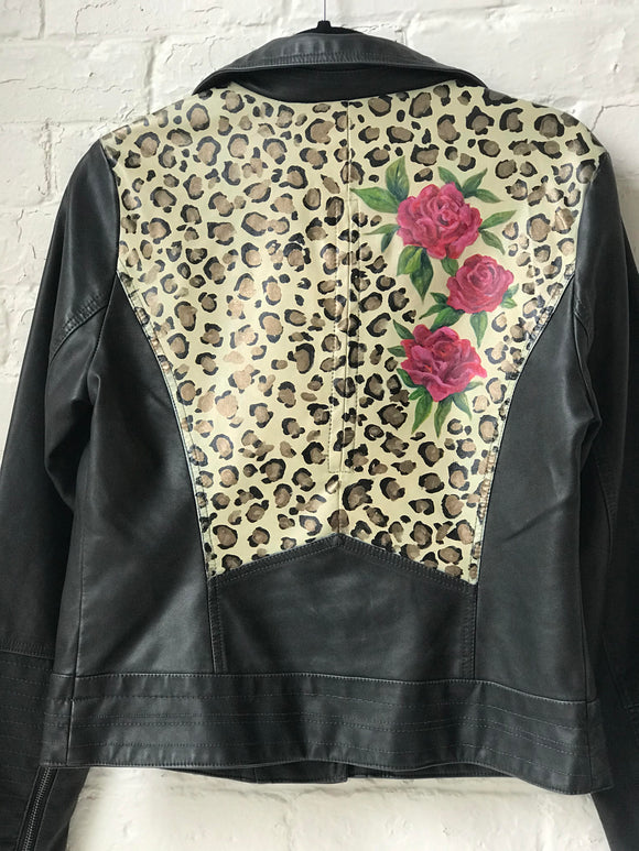 Leopard and Roses Leather Jacket